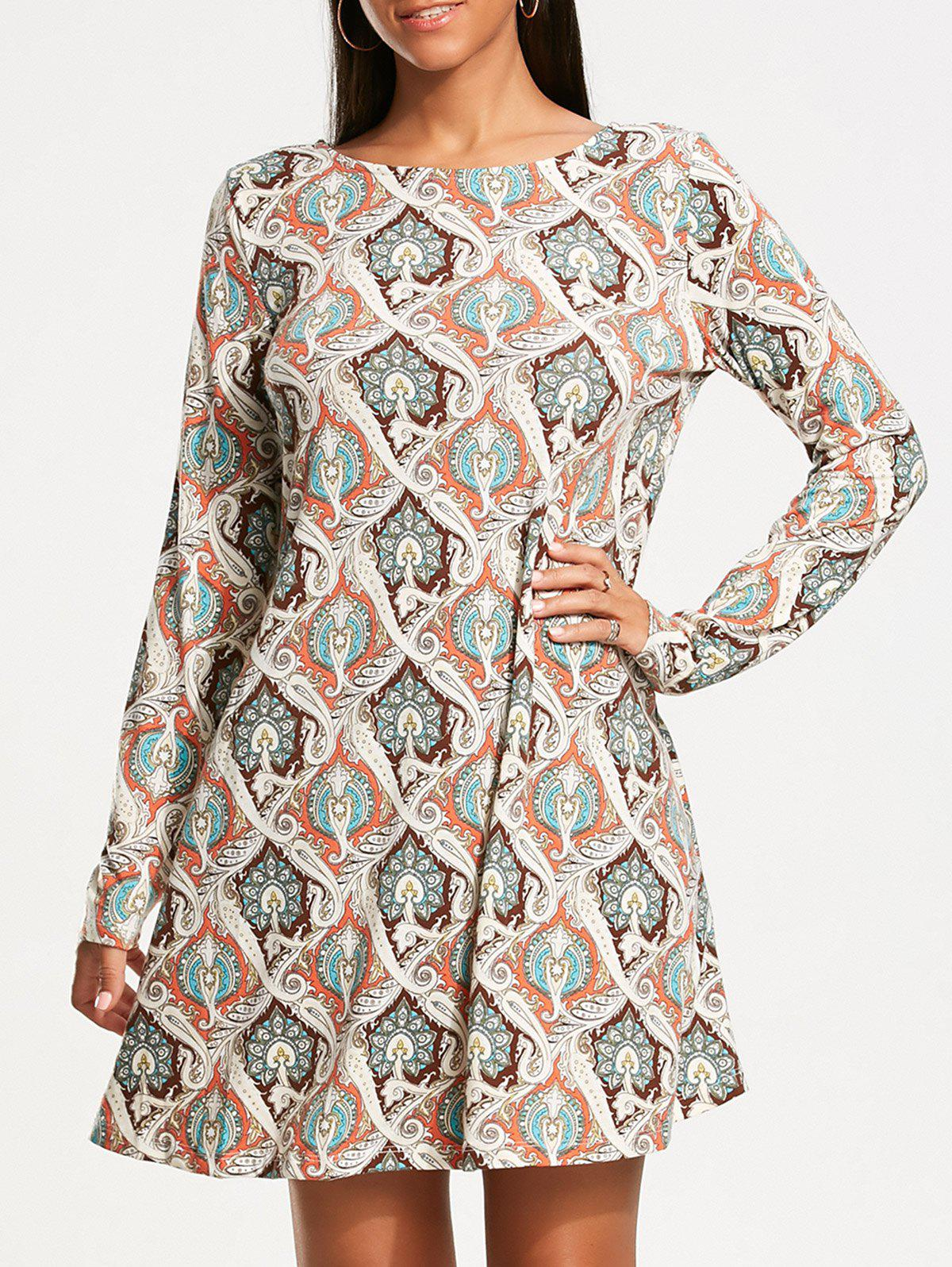 Vintage Print Long Sleeve Tunic Dress - COLORMIX XL