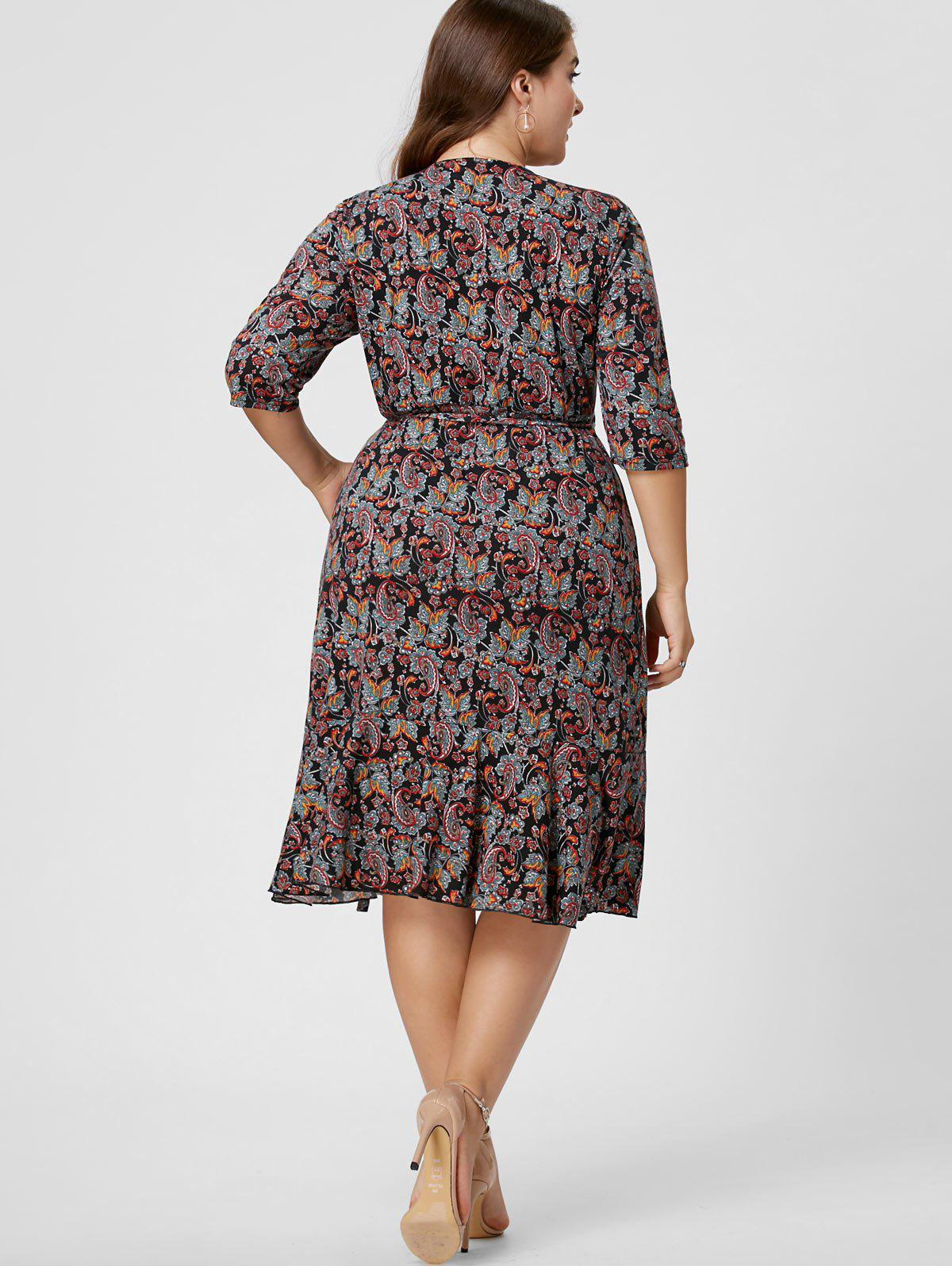 Plus Size Overlap Paisley Dress - COLORMIX XL