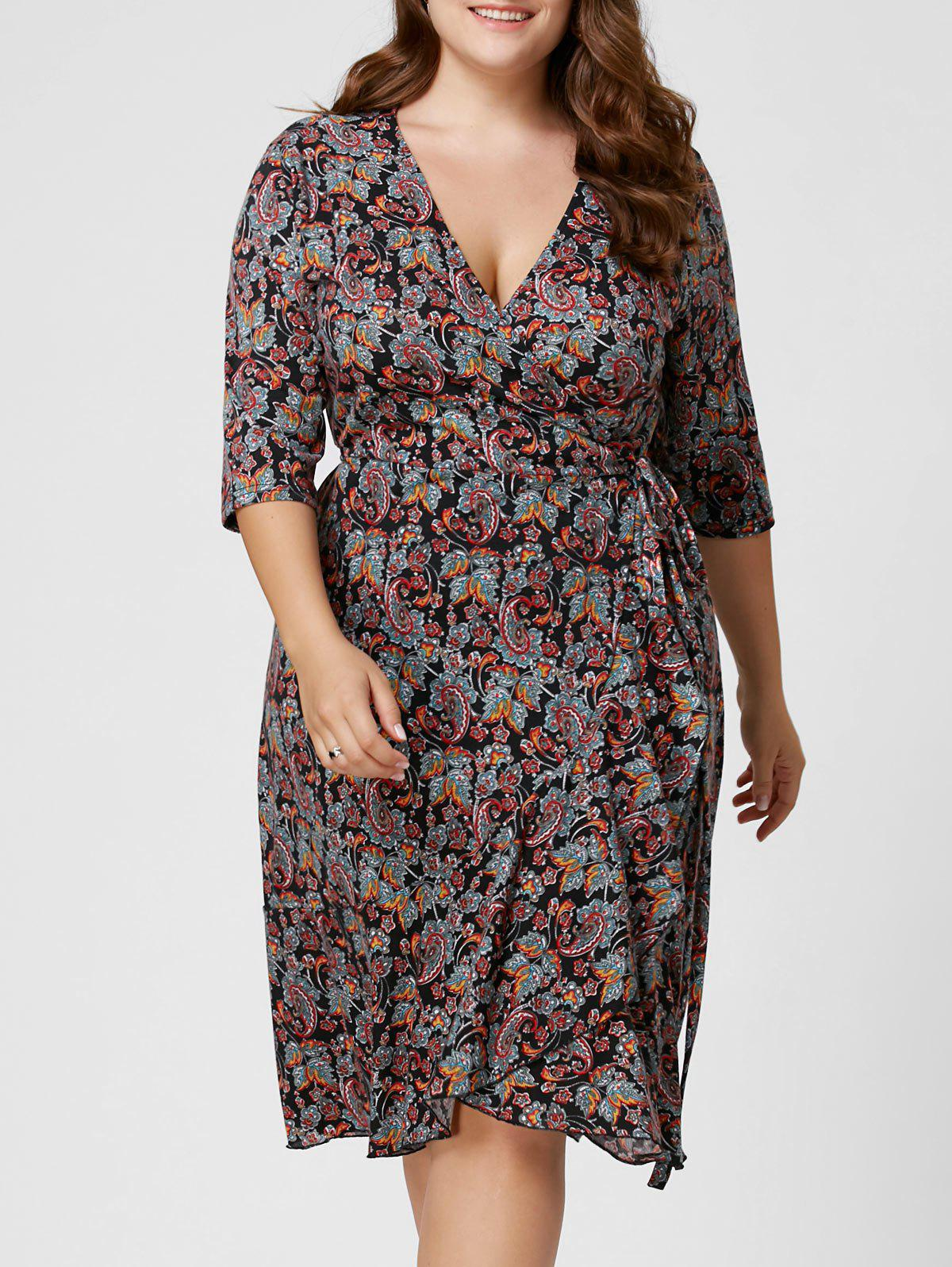 Plus Size Overlap Paisley Dress - COLORMIX 5XL