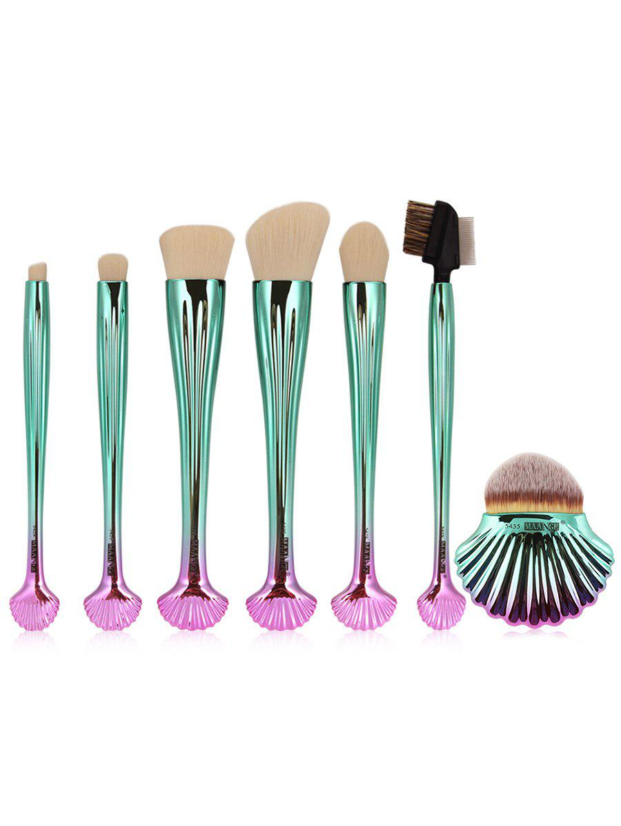 7Pcs Plated Shell Shape Ombre Makeup Brushes Set - WHITE