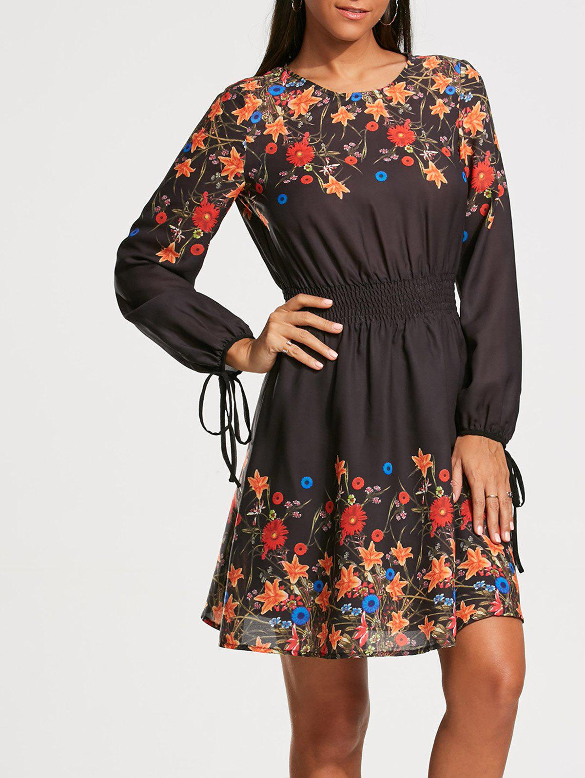 Elastic Waist Floral Print Long Sleeve Dress - COLORMIX XL