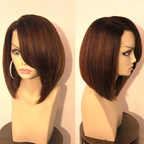 Side Parting Straight Bob Short Synthetic Wig - BLACK/BROWN