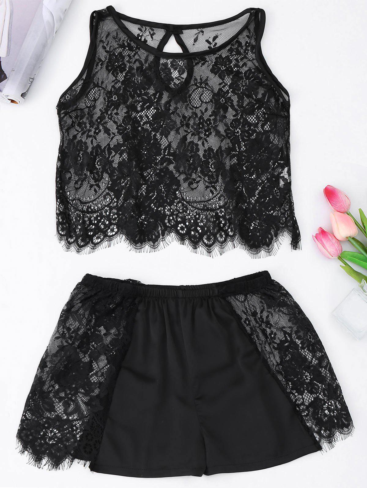 See Through Cropped Lace Tank Top with Shorts - BLACK ONE SIZE