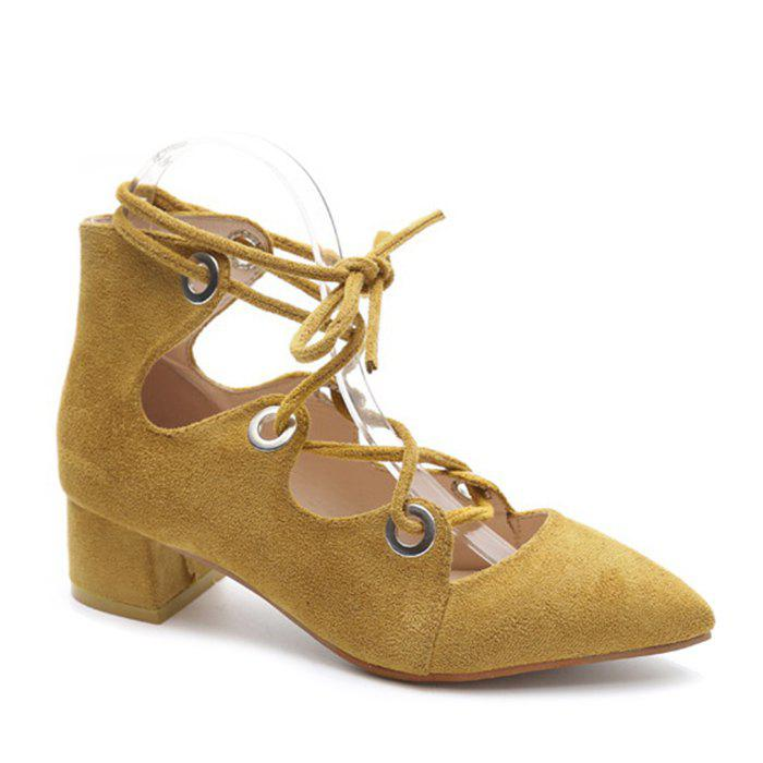Chunky Heel Pointed Toe Lace Up Pumps - YELLOW 38
