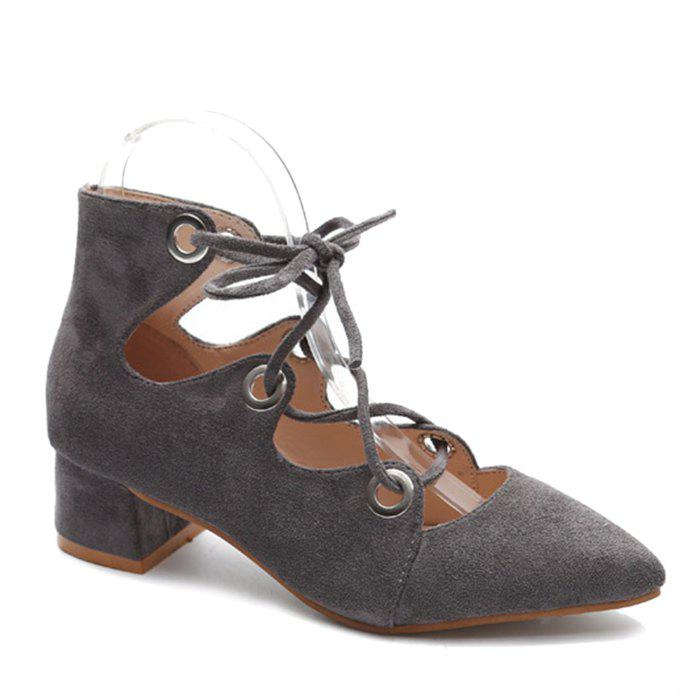 Chunky Heel Pointed Toe Lace Up Pumps - GRAY 38