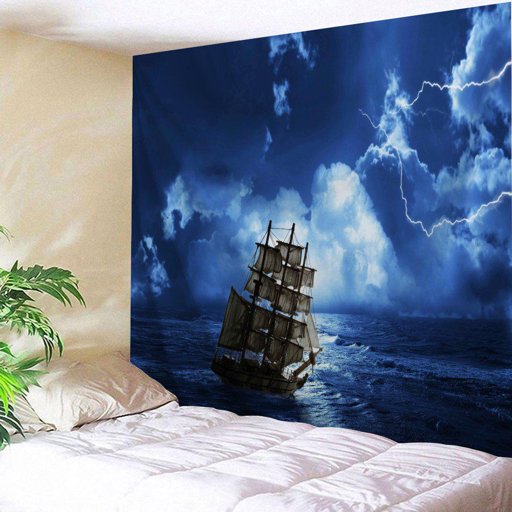 Lightning Ocean Ship Print Tapestry Wall Hanging Art - BLUE W91 INCH * L71 INCH