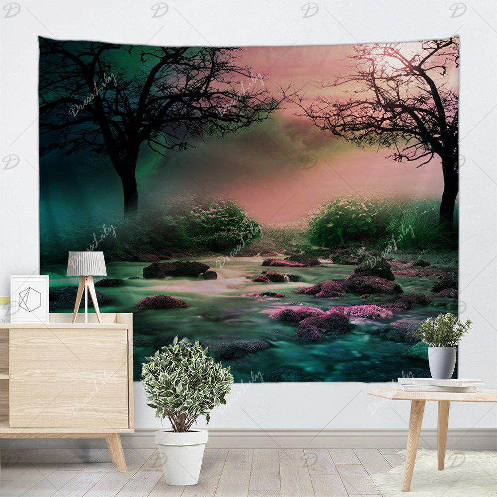 Trees Streams Print Tapestry Wall Hanging Art - COLORMIX W91 INCH * L71 INCH