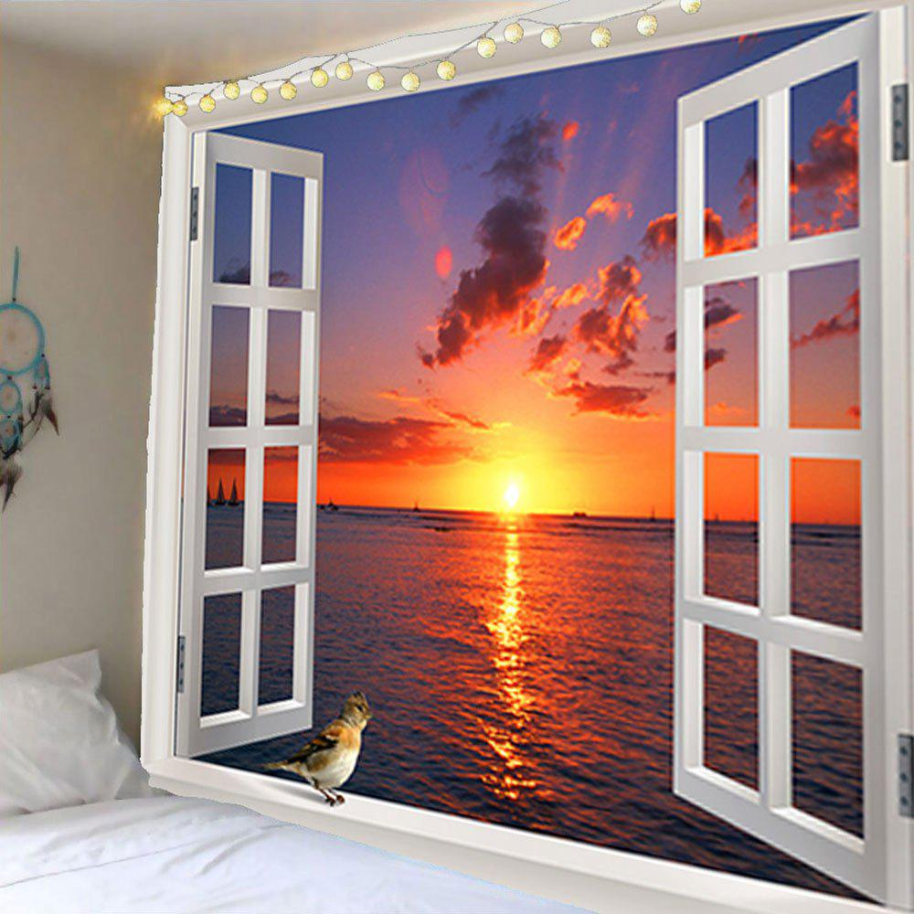 Window Sunset Bird Waterproof Wall Hanging Tapestry - COLORFUL W79 INCH * L71 INCH