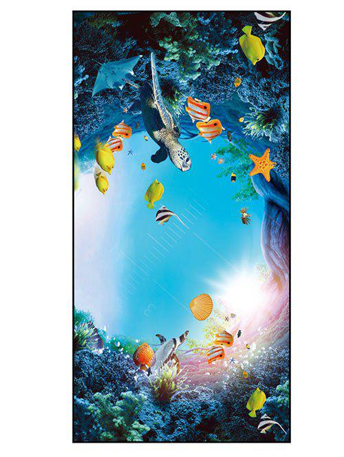 Sea World Printed Polyester Bath Towel - SKY BLUE W15.5 INCH * L67 INCH