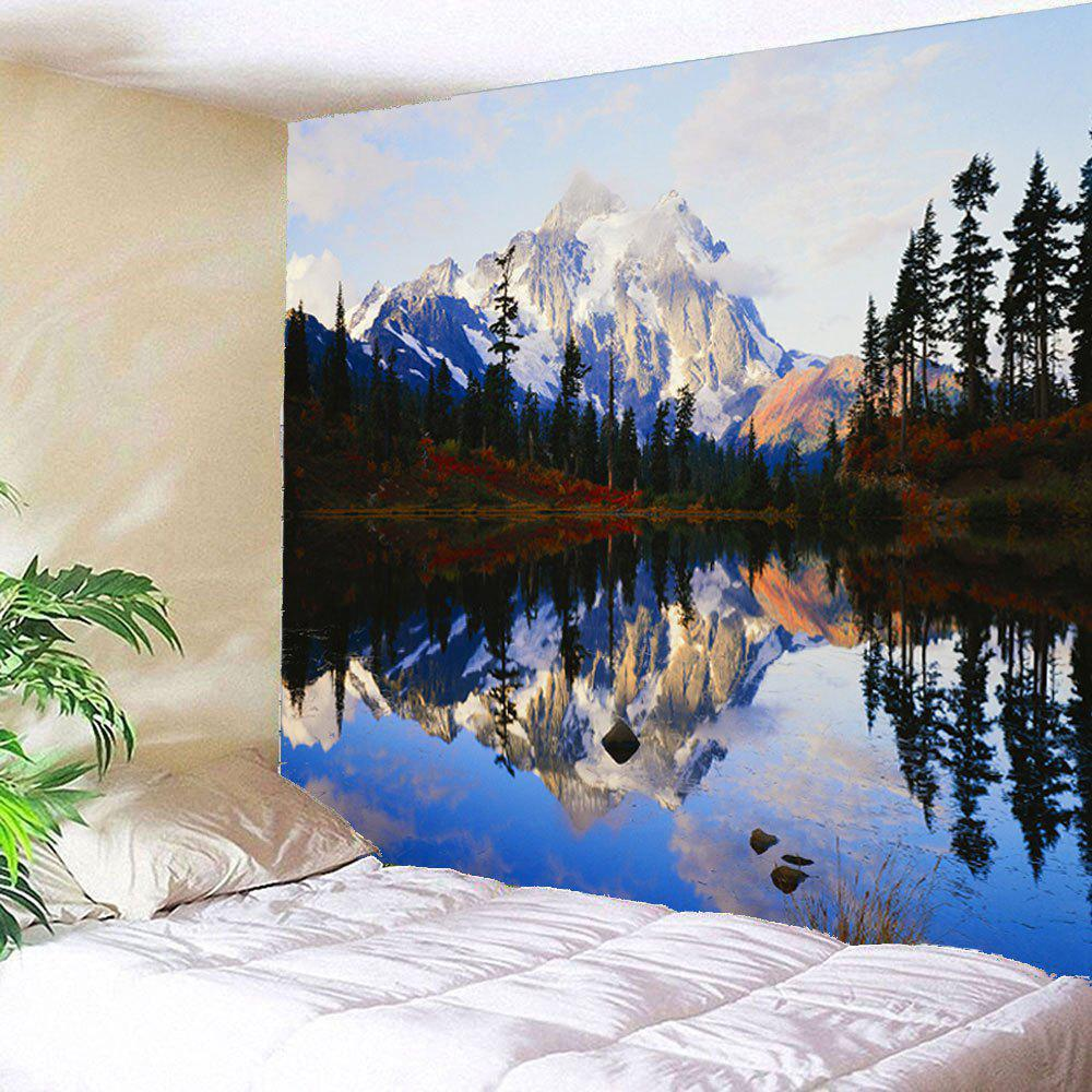 Lakeside Forest Mountains Waterproof Hanging Wall Tapestry - COLORFUL W79 INCH * L71 INCH