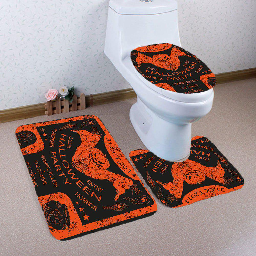 3Pcs Halloween Pumpkin Bat Pattern Mats de salle de bain Set - coloré