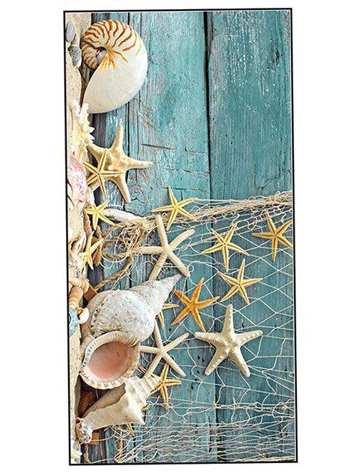 Wood Grain Starfish Printed Soft Bath Towel - TURQUOISE W15.5 INCH * L67 INCH