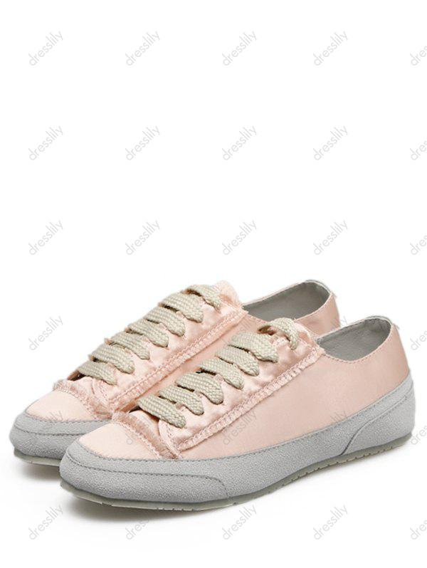 Suede Panel Satin Sneakers - CHAMPAGNE 38