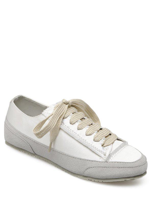 Suede Panel Satin Sneakers - WHITE 39