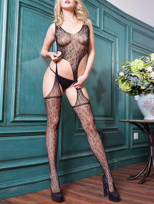 Leopard See Through Mesh Bodystocking - BLACK ONE SIZE