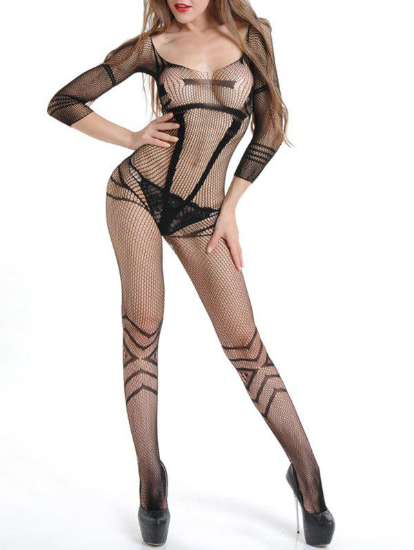 Sexy Fishnet Bodystocking with Sleeves - BLACK ONE SIZE