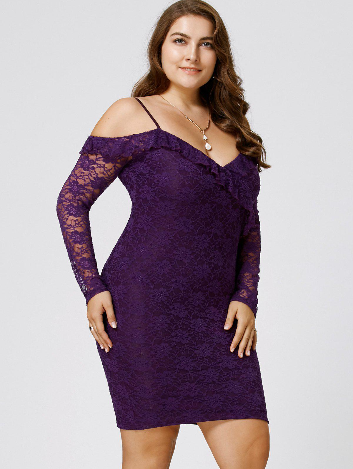 Plus Size Dew Shoulder Frill Lace Bodycon Dress - PURPLE 5XL