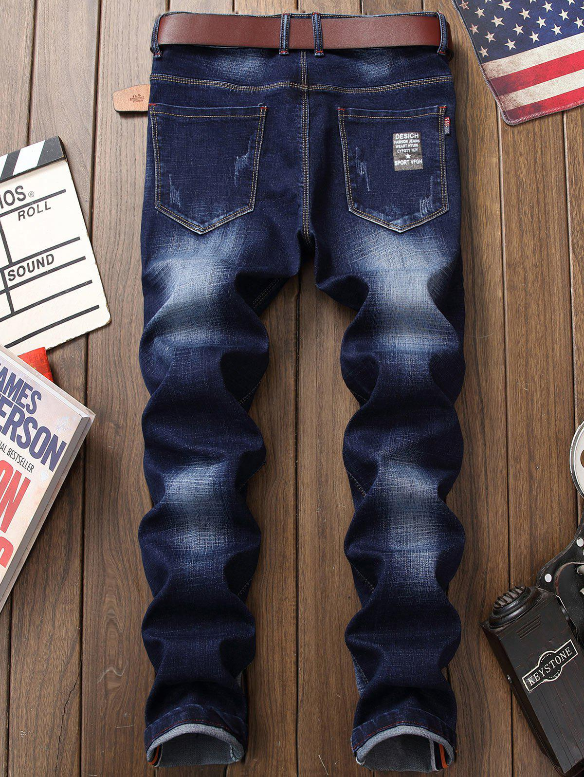 Zipper Fly Printed Distressed Jeans - DEEP BLUE 36