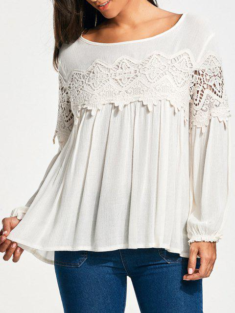 Lace Insert Long Sleeve Smock Blouse - WHITE S