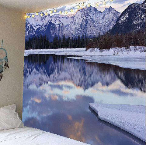 Ice Lake Forest Snow Mountains Wall Waterproof Tapestry - COLORFUL W59 INCH * L59 INCH
