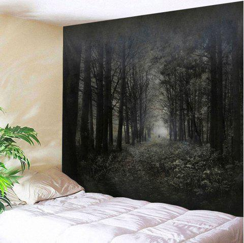 Misty Forest Wall Art Hanging Fabric Tapestry - DEEP GRAY W79 INCH * L71 INCH