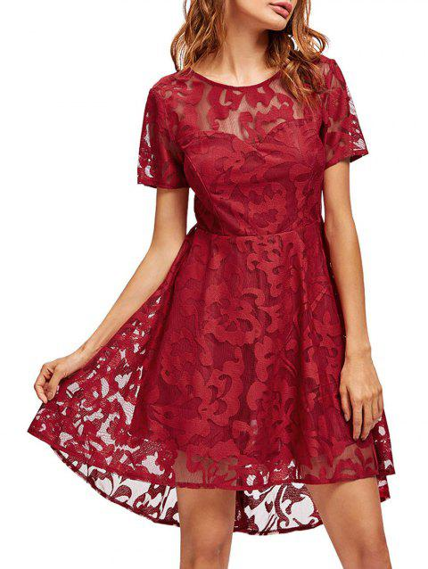 Lace Mesh Open Back Cocktail Party Dress - RED S