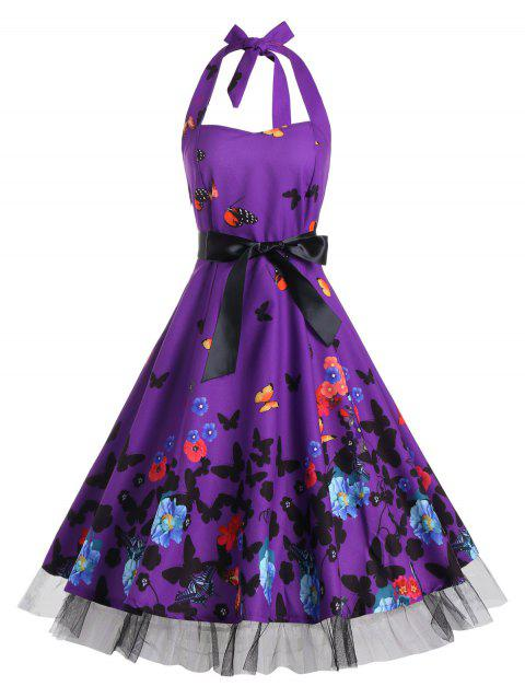f2dd9ada2c LIMITED OFFER  2019 Butterfly Print Halter A Line Vintage Dress In ...