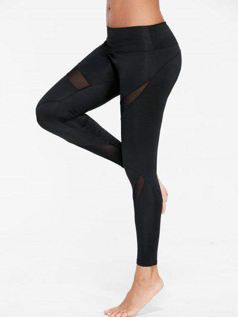 132465f4e38f1 41% OFF] 2019 Mesh Insert Skinny Gym Leggings In BLACK | DressLily
