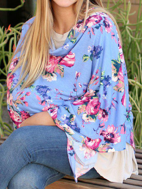 Multifunctional Asymmetric Floral Nursing Poncho - BLUE M