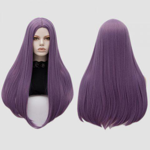 Long Center Part Straight Tail Adduction Cosplay Wig - PURPLE