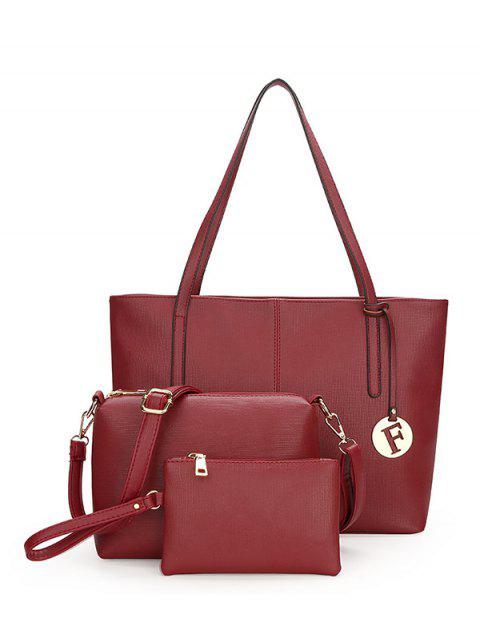 PU Leather 3 Pieces Shoulder Bag Set - WINE RED