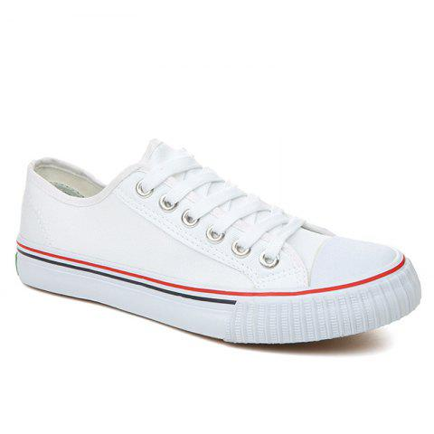 Concise Low-top Canvas Sneakers - WHITE 43