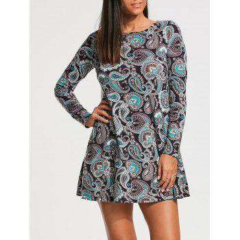 Long Sleeve Paisley Print Tunic Dress - COLORMIX M