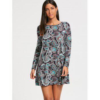 Long Sleeve Paisley Print Tunic Dress - M M
