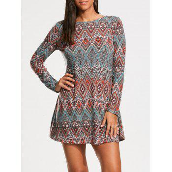 Long Sleeve Tribal Rhombue Print Tunic Dress - COLORMIX L