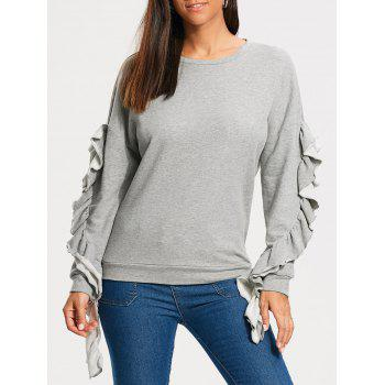 Ruffles Panel Drop Shoulder Sweatshirt