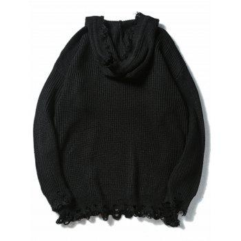Drawstring Hooded Knitted Ripped Sweater - BLACK BLACK