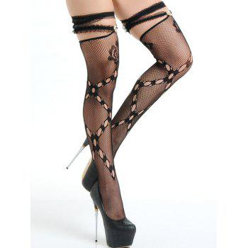 Lace Panel Ruffled Fishnet Stocking - ONE SIZE ONE SIZE