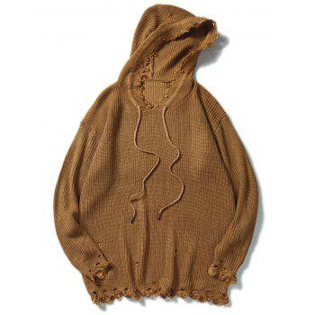 Drawstring Hooded Knitted Ripped Sweater - COFFEE M