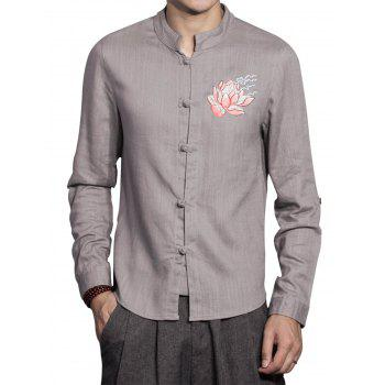 Cotton Linen Mandarin Collar Floral Embroidered Shirt - GRAY 3XL