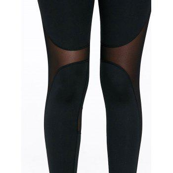 Sheer Mesh Panel Workout Leggings with Stirrup - M M