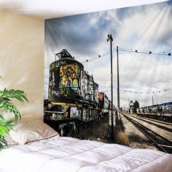 Retro Train Graffiti Print Tapestry Wall Hanging Art