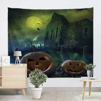 Castle Pumpkin Print Halloween Wall Tapestry - COLORMIX W59 INCH * L51 INCH