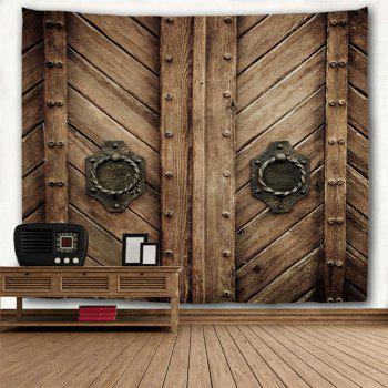 Natural Wood Door Polyester Wall Tapestry - BROWN W79 INCH * L71 INCH