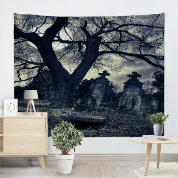 Gloomy Night Wall Hanging Halloween Tapestry - BLACK GREY W91 INCH * L71 INCH