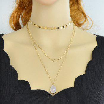 Teardrop Pendant Embellished Layered Necklace -  GOLDEN