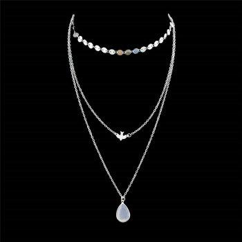 Teardrop Pendant Embellished Layered Necklace - SILVER SILVER