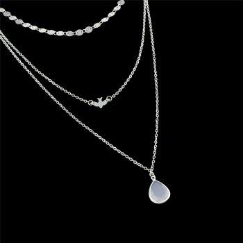 Teardrop Pendant Embellished Layered Necklace -  SILVER