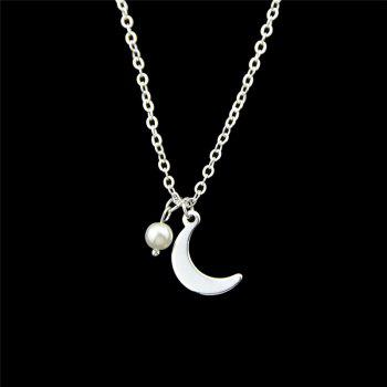 Moon Pendant Skinny Necklace - SILVER SILVER
