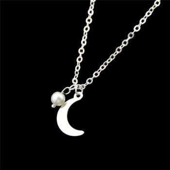 Moon Pendant Skinny Necklace -  SILVER